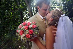 Wedding kiss. Young couple kissing in sun ray Royalty Free Stock Image