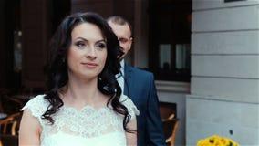 Wedding kiss beautiful young couple stock video