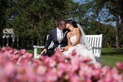 Wedding kiss. Bride and groom at the wedding Stock Photo