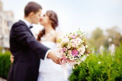 Wedding kiss. Couple kissing in wedding day Royalty Free Stock Photo