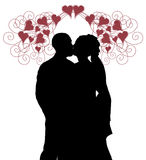 Wedding Kiss With Hearts Royalty Free Stock Photo