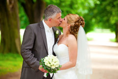 Wedding kiss on path sexy couple Stock Photography