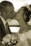 Wedding kiss in sepia colorous. Wedding kiss stock photography