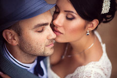 Wedding, kiss, top view Royalty Free Stock Images