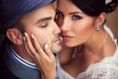 Wedding, kiss, top view Stock Images