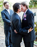 The Wedding Kiss. Two grooms kiss eachother in front of the minister at their gay marriage ceremony stock image