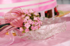 Wedding knife cake. In soft focus royalty free stock images