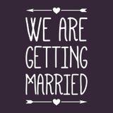 Wedding/We krijgen gehuwd Etiket/Kenteken stock fotografie