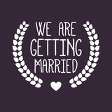 Wedding/We krijgen gehuwd Etiket/Kenteken Stock Afbeelding