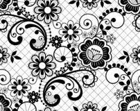 Wedding lace French or English seamless pattern set, black ornamental repetitive design with flowers - textile design stock photography