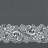 Wedding lace vector pattern, detailed retro ornament, lace design with flowers and swirls in white on gray background stock illustration