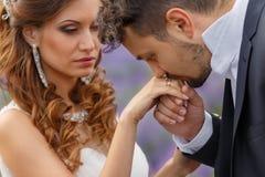 Wedding lavender field. Stock Photos