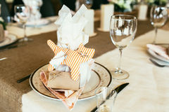 Wedding Laying With Stripe Cat Toy And Blank Card On Table Royalty Free Stock Photos