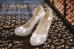 Wedding leather shoes in yacht club stock image