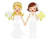 Wedding -Lesbian - Bobbed hair and Tiara Bride Stock Photo