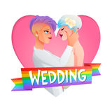 Wedding lesbian couple. Vector image with text. Cute beautiful gay lesbian homosexual hugging couple in love. Nontraditional wedding cartoon vector illustration Royalty Free Stock Image