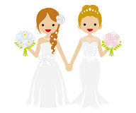 Wedding -Lesbian - Hair Bun and Braid hair Bride. Cute Lesbian Wedding couple. Updo and Braid hair Bride stock illustration