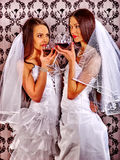 Wedding lesbians in bridal dress. Queer girl. Wedding lesbians girl in bridal dress drinking red wine. Queer girl. Wallpaper background Royalty Free Stock Photography