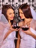Wedding lesbians girl in bridal dress. Royalty Free Stock Photo