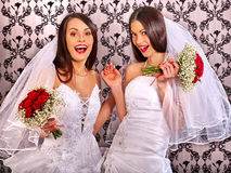Wedding lesbians girl in bridal dress Stock Photography
