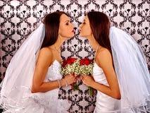 Wedding lesbians girl in bridal dress Royalty Free Stock Photos
