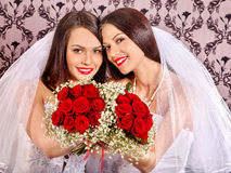Wedding lesbians girl in bridal dress Stock Photos