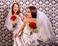 Wedding lesbians girl in bridal dress Stock Images