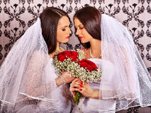 Wedding lesbians girl in bridal dress Stock Photo