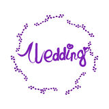 Wedding lettering with elegant floral frame Royalty Free Stock Photos