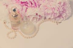 Wedding lifestyle with peony flowers Stock Photos