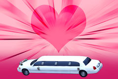 Wedding limo. Usine on heart background Royalty Free Stock Image