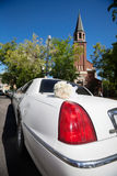 Wedding Limo and Church Stock Photos