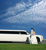 Wedding and limousine Stock Image