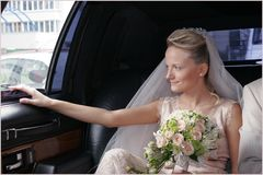 In the wedding limousine Royalty Free Stock Image