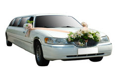 Wedding limousine. Wedding white limousine car (limo) on isolated background stock photos