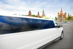 Wedding limousine against Red Square in Moscow Stock Photography