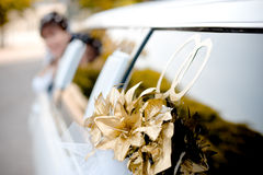 Wedding limousine decoration Royalty Free Stock Photo