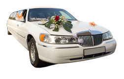 Wedding limousine with flowers Stock Images