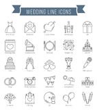 Wedding Line Icons. 25 Wedding line icons, can be used for Valentine's day Stock Photos