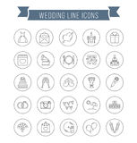 Wedding Line Icons Stock Photography
