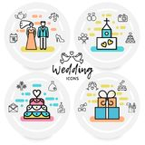 Wedding Line Icons Concept Royalty Free Stock Images