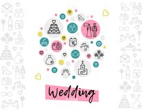 Wedding Line Icons Concept. With couple cake shoe rings date church fireworks camera dress bed pigeons car champagne glasses isolated vector illustration Stock Photography