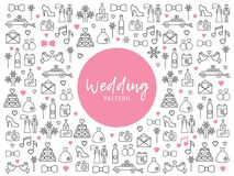 Wedding Line Icons Pattern. With bride groom dress car shoe camera fireworks letter cake pigeons date gifts rings champagne bottle vector illustration Royalty Free Stock Photos