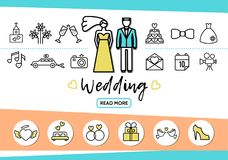 Wedding Line Icons Set. With couple church fireworks glasses cake dress car camera letter date bed rings gifts pigeon shoe isolated vector illustration Royalty Free Stock Photo