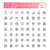 Wedding Line Icons Set. Set of 56 wedding line icons suitable for web, infographics and apps. Isolated on white background. Clipping paths included royalty free illustration