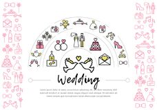 Wedding Line Icons Template. With pigeons bride groom rings church gifts fireworks camera car dress date shoe bed letter cake isolated vector illustration Royalty Free Stock Image