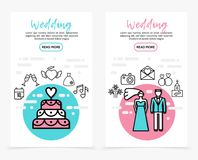 Wedding Line Icons Vertical Banners. With cake calendar date drinking glasses heart dress music note bride groom fireworks camera letter rings church vector Stock Photography