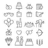 Wedding Linear Icons Set Stock Photo