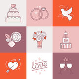 Wedding linear icons Royalty Free Stock Photo