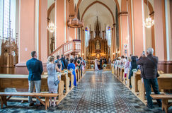 Wedding in Lithuanian church. In Kernave city stock photography